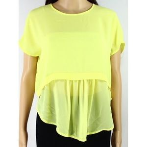 1. State Yellow Sheer Blouse